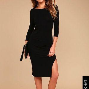 Black body con dress with slit